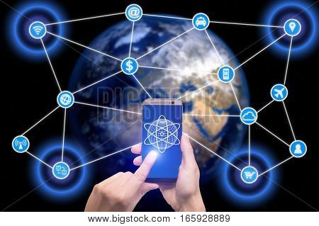 Network of connected mobile devices such as smart phone tablet thermostat or smart home. Internet of things and mobile computing concept.