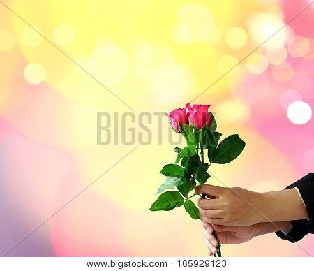 Hands holding red rose flower on blur lights bokeh background.