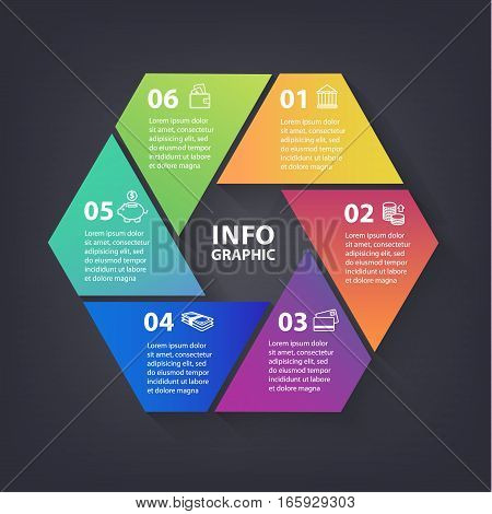 Vector colorful loop infographic. Template for diagram, graph, presentation and chart. Abstract business concept with options, parts, steps or processes. Abstract background.