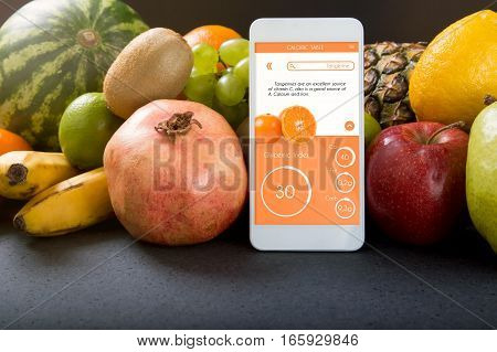 Smartphone With App Showing The Glycemic Index. Concept Of App For Healthcare