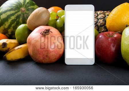 White Smartphone With Empty Screen Over Fruity Background