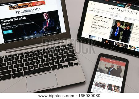 Krynica-Zdroj Poland - January 20 2017: British electronic media The Times Financial Times and BBC News publish the information about inauguration Donald Trump as 45 President of the United States of America.