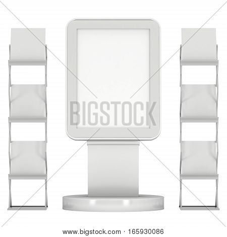 LCD Display Stand and Magazine Rack. Blank Trade Show Booth. 3d render isolated on white background. High Resolution image. Ad template for your expo design.