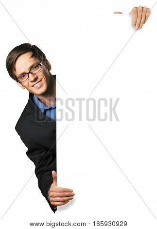 Portrait of a Confident Businessman Behind Blank Sign