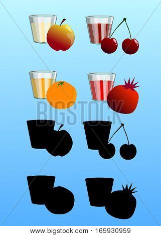 Vector set of fruit and glasses with juice isolated