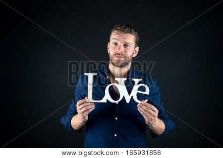 Handsome Man With Love Text