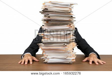Portrait of an Employee Behind a Stack of Documents