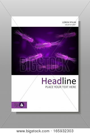 Medical scientific academic journal cover A4 design with bacteria in purple luminescence. Virus flagellum bacteria microbe germ background. Vector.
