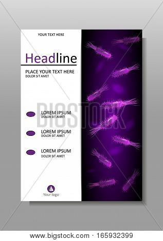 A4 Medical scientific academic journal cover design with bacteria in purple luminescence. Banner report magazine conference. Virus flagellum bacteria microbe germ background. Vector.