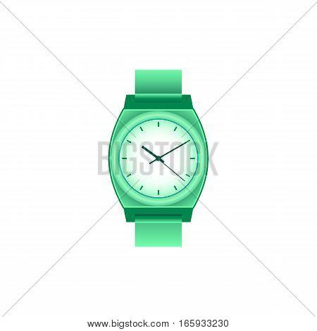 Wrist watch unisex green color on white field.