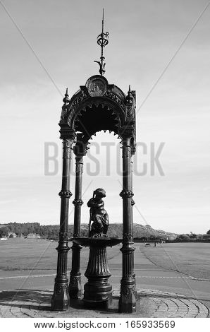 A view of a decorative drinking fountain in Burntisland