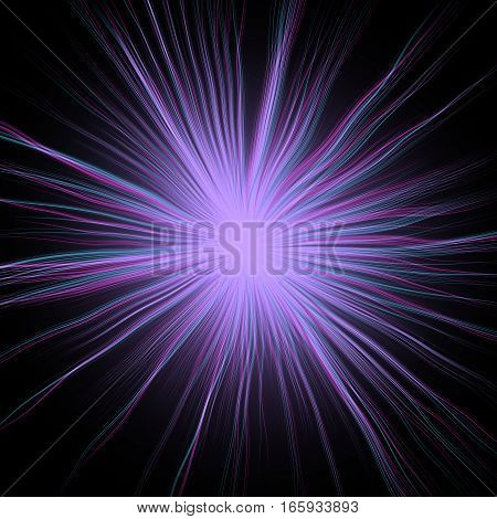 Soft violet rays star object in dark space