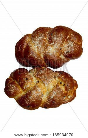 Two Shabbat challah on a white background. Foto