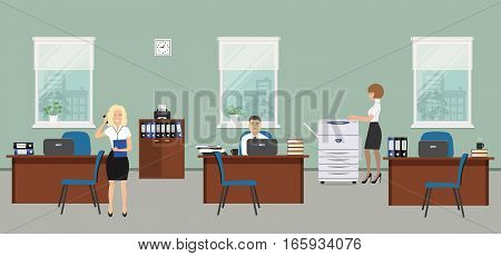 Office room in a gray color. The young women and man are employees at work. There is brown furniture, blue chairs, a copy machine on a window background in the picture. Vector flat illustration