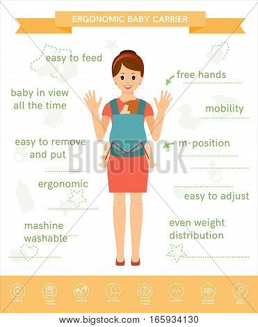 Mother holds her child. The child sits in a ergonomic baby carrier. Linear white icon. Isolated on white background. Vector illustration