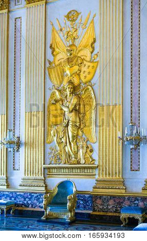 Caserta Italy - March 9, 2008: The throne room of the Royal Palace detai