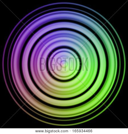 Rainbow colorful violet and neon green abstract round ring circle on black