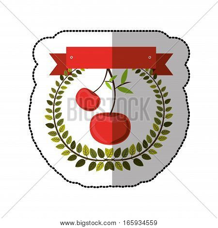 middle shadow sticker colorful with olive crown with cherrys vector illustration