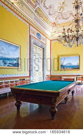 Caserta Italy - March 92008: The billiard room of the apartments of the Royal Palace