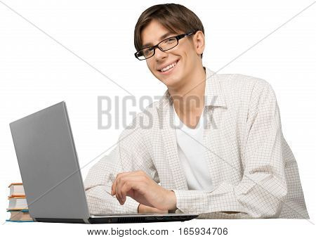 Portrait of a Smiling Young Man Using a Laptop