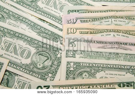 Set of dollar banknotes as background. business concept