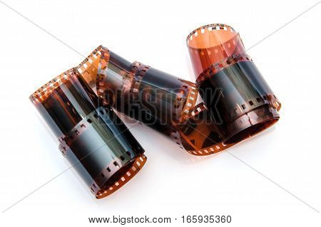 Many 35 mm negative film with family photos isolated