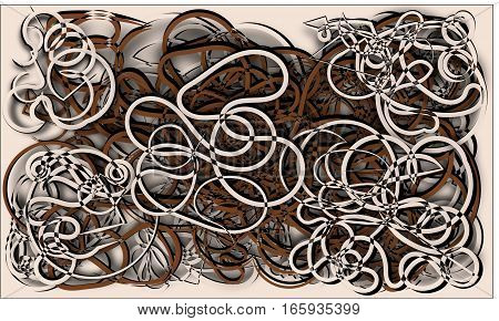 abstract background brown and beige cords piles heaped and intertwined with each other on a beige background