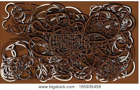 abstract background brown and beige cords piles heaped and intertwined with each other on a brown background