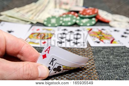 poker combinations as background card, chips, money