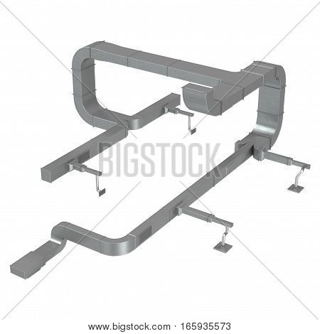 Air Conditioning Ducting on white background. 3D illustration