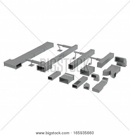 Steel pipelines and equipment elements set on white background. 3D illustration
