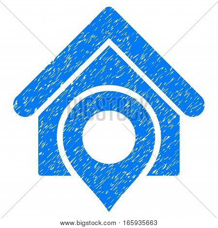 Realty Location grainy textured icon for overlay watermark stamps. Flat symbol with dirty texture. Dotted vector blue ink rubber seal stamp with grunge design on a white background.