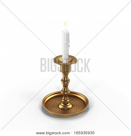 Candle on a brass candlestick isolated on white background. 3D illustration