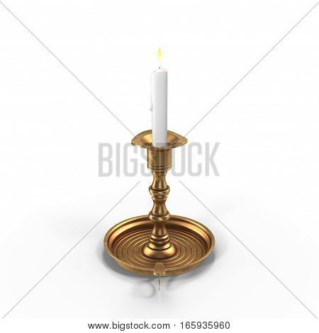 Old brass plated candlestick with candle isolated on white background. 3D illustration