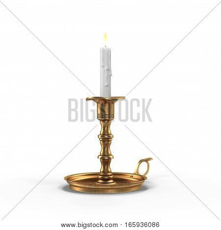 Decorative antique Brass Candleholder with lit white pillar candle. Isolated. 3D illustration