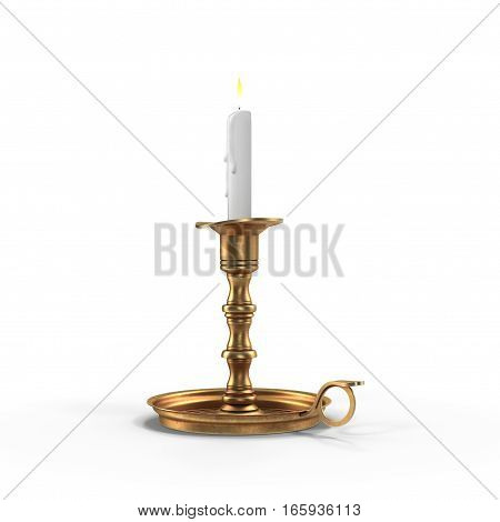 Old candleholder with candle isolated on white background. 3D illustration