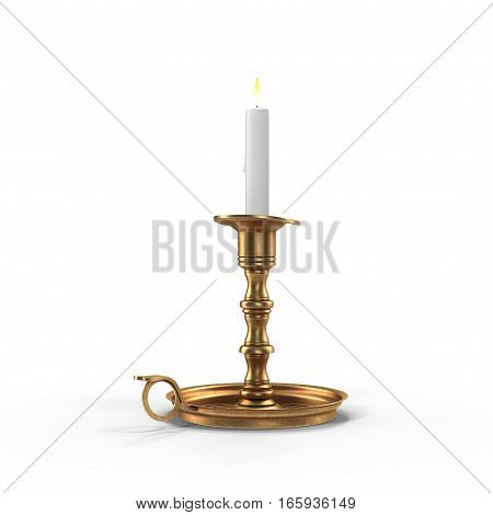 Lighted candle in an old brass candlestick, with a white background. 3D illustration