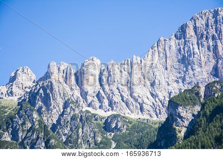 view of the dolomitic group named Civetta in Italy during a sunny day.