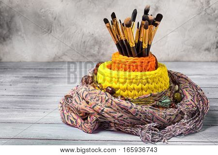 Knitted Baskets With Brushes For Make-up, Copy Space.