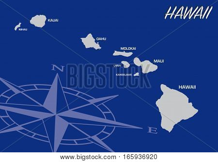 Blue vector map of us state of Hawaii with compass