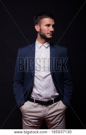 Handsome Man Looking Sideways Suit Elegant