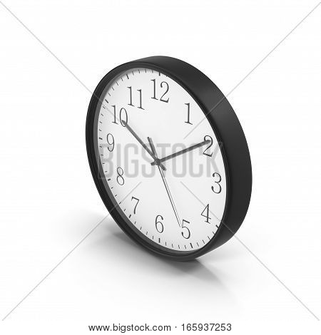 Round Office Clock on white background. 3D illustration