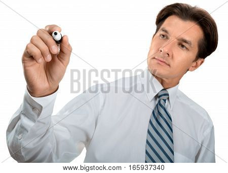 Portrait of a Businessman Writing on the Air