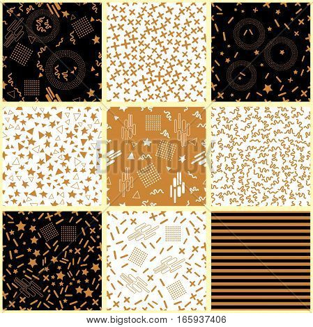 Abstract geometric background with simple design elements and architectural motifs. 1980s-1990s collection.