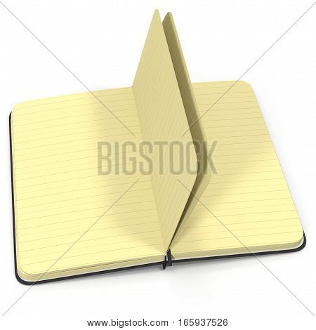 Open notebook on white background. 3D illustration