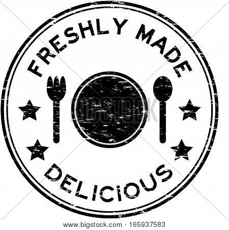 Grunge black freshly made delicious with plate, spoon, fork icon round rubber stamp