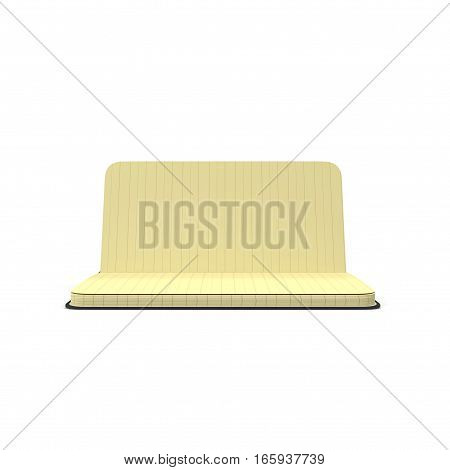 Vintage blank open notebook isolated on white background. 3D illustration