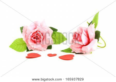 heart red with rose pink on white background valentine day concept