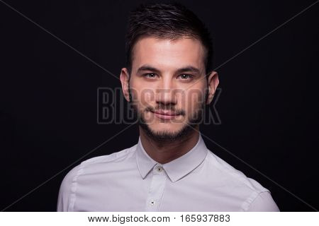 Man Headshot Face Head Portrait White Shirt Smirking Closeup