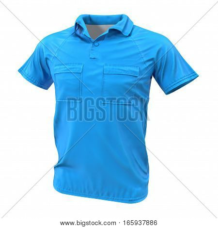 Blue Pocket T-Shirt on white background. 3D illustration